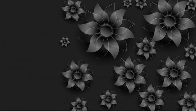 Dark black 3d flowers decoration background