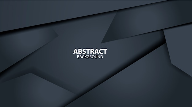 Dark black abstract geometric background template. modern shape.