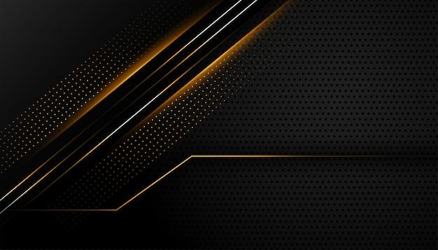 輝くラインデザインの暗い黒の背景
