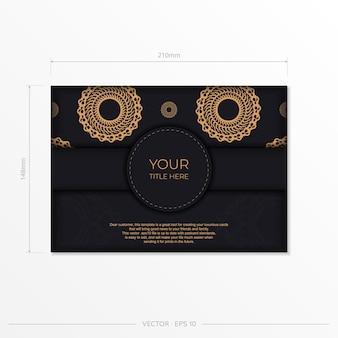 Темный шаблон приглашения черного золота с белым абстрактным орнаментом. элегантные и классические векторные элементы, готовые для печати и типографии.