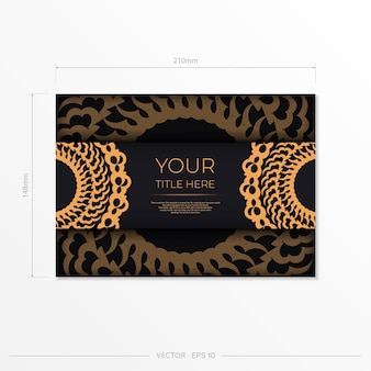 Dark black gold invitation card template with white abstract ornament. elegant and classic elements are great for decorating. vector illustration.