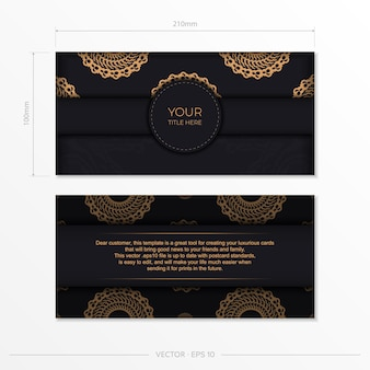 Dark black gold invitation card template with white abstract ornament. elegant and classic vector elements are great for decoration.