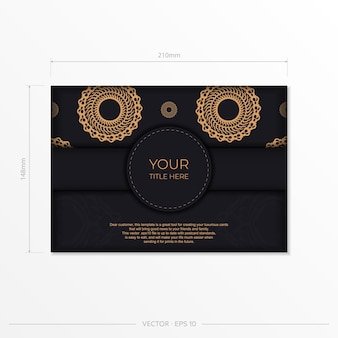 Dark black gold invitation card template with white abstract ornament. elegant and classic vector elements ready for print and typography.