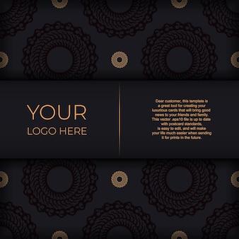 흰색 인도 장신구와 다크 블랙 골드 초대 카드 템플릿. 인쇄 및 인쇄술에 사용할 수 있는 우아하고 고전적인 벡터 요소입니다.