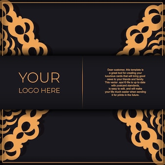 Dark black gold invitation card template with white indian ornaments. elegant and classic vector elements ready for print and typography.