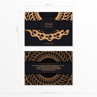 Темно-черный золотой шаблон открытки с белым абстрактным орнаментом мандалы. элегантные и классические векторные элементы отлично подходят для украшения.