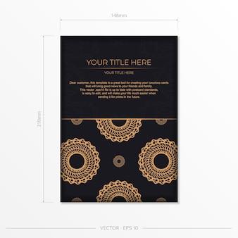 Темно-черный золотой шаблон открытки с белым абстрактным орнаментом мандалы. элегантные и классические векторные элементы, готовые для печати и типографии.
