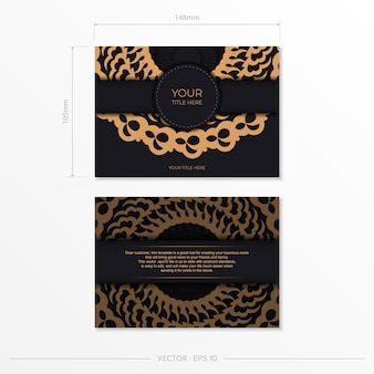 Dark black gold postcard template with white abstract mandala ornament. elegant and classic vector elements are great for decoration.