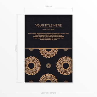 Dark black gold postcard template with white abstract mandala ornament. elegant and classic vector elements ready for print and typography.