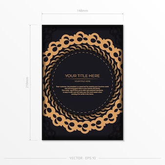 Dark black gold postcard template with white abstract ornament. elegant and classic elements are great for decorating. vector illustration.