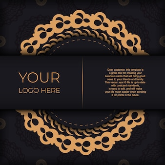 Dark black gold postcard template with white abstract ornament. elegant and classic vector elements ready for print and typography.