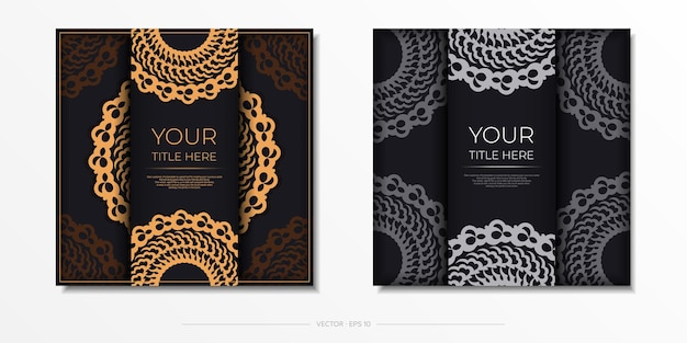 흰색 인도 만다라 장식이 있는 다크 블랙 골드 엽서 템플릿. 인쇄 및 타이포그래피에 사용할 수 있는 우아하고 고전적인 요소입니다. 벡터 일러스트 레이 션.
