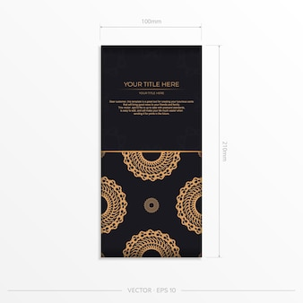 Dark black gold postcard template with white indian mandala ornament. elegant and classic vector elements ready for print and typography.
