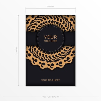 Dark black gold postcard template with white indian ornaments. elegant and classic vector elements ready for print and typography.