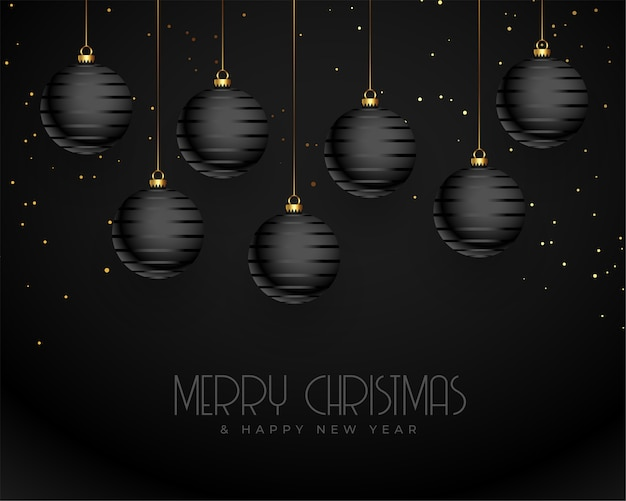 Dark black merry christmas realistic greeting