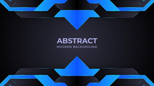 Dark blue abstract background geometry shine and layer element vector for presentation design