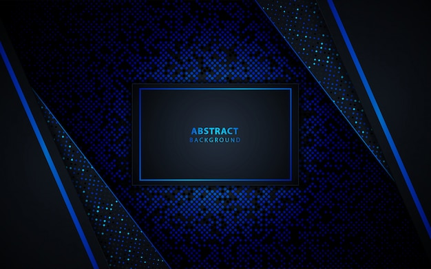 Dark blue abstract background with black overlap layers. texture with glitters dots element decoration