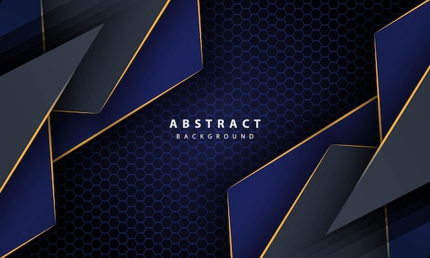 Dark blue abstract hexagon background with gold line gradient shapes. design template for banner, posters, cover,etc.