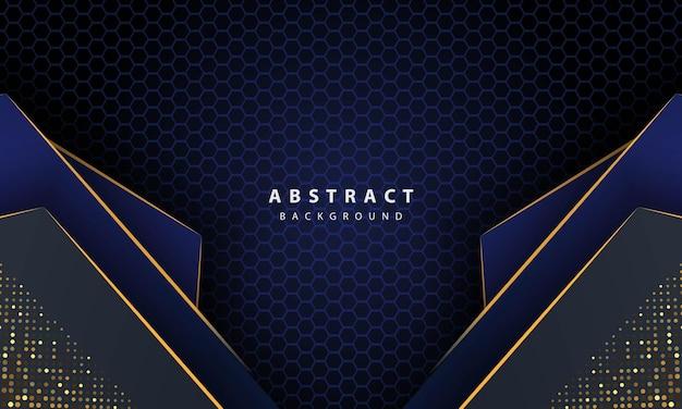 골드 라인 그라데이션 모양으로 진한 파란색 추상 육각 배경. 배너, 포스터, 표지 등을 위한 디자인 템플릿입니다.