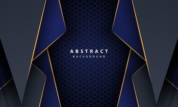 Темно-синий абстрактный фон шестиугольника с формами градиента золотой линии. шаблон оформления для баннера, плакатов, обложки и т. д.