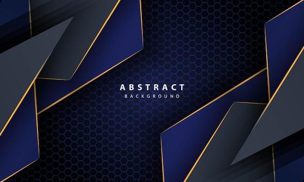 金色の線のグラデーションの形と濃い青の抽象的な六角形の背景。バナー、ポスター、表紙などのデザインテンプレート。