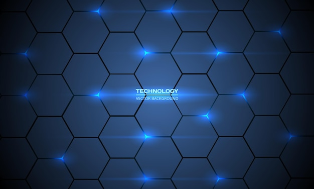 Dark blue abstract hexagonal technology background wit blue bright energy flashes