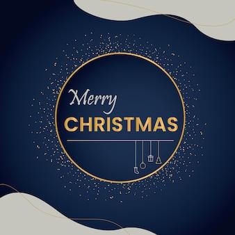 ダークブルーとゴールデンのクリスマスポスター