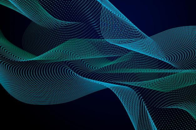 コピースペースで暗い青と緑の波状の背景