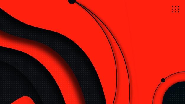 ダークブルーと赤の豪華な波モダンなデザインベクトル背景