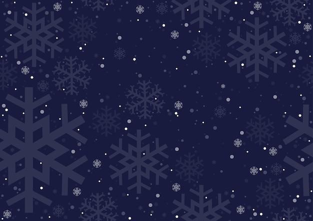Темно-синий фон с падающими снежинками как повторяющийся зимний узор бесшовные
