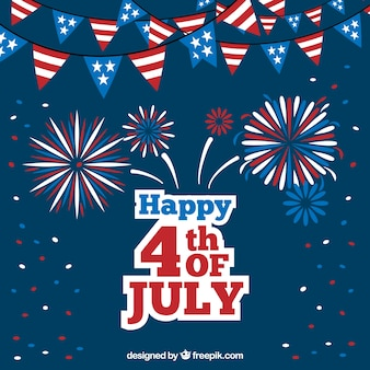Dark blue background with garlands and fireworks for independence day