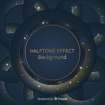 Dark blue background with golden halftone circle