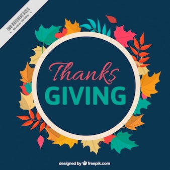 Dark blue background with leaves for thanksgiving day