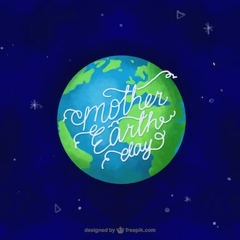 Dark blue background with mother earth in watercolor style