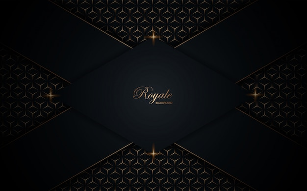 Dark blue background with overlap layers texture with golden line