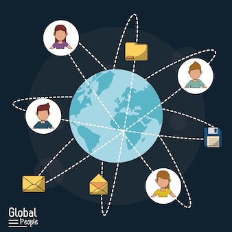 Темно-синий фон с мировым глобусом и глобальной связью