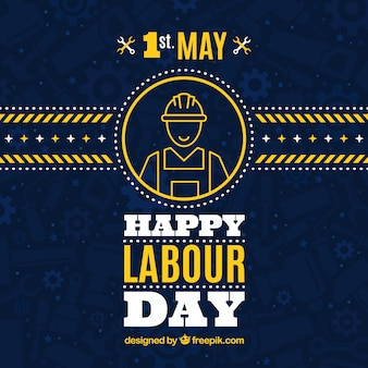 Dark blue background with yellow details for worker's day