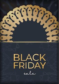 Темно-синий рекламный шаблон черной пятницы с абстрактным золотым узором