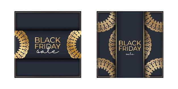 Темно-синий рекламный шаблон черной пятницы с геометрическим золотым орнаментом
