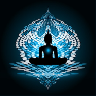 Dark blue buddha silhouette against background. yoga