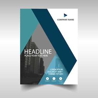 Dark blue business brochure template with geometrical shapes