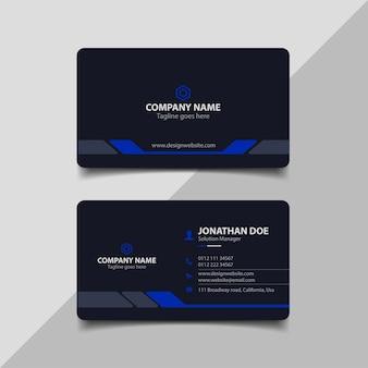 Темно-синий шаблон визитной карточки