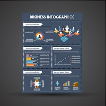 Dark blue business infographic template with colorful graphs