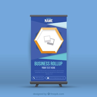 Dark blue business roll up with geometric shapes