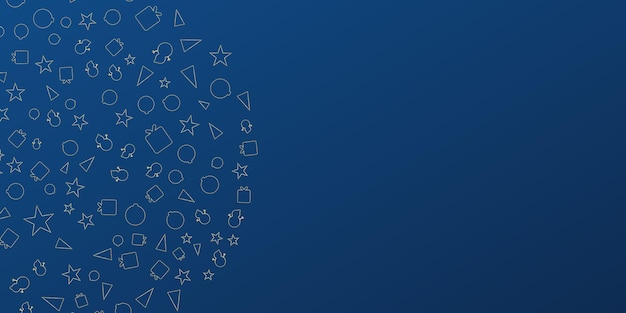 Dark blue christmas presentation background banner with star gift snowman and tree icon beautiful ch...