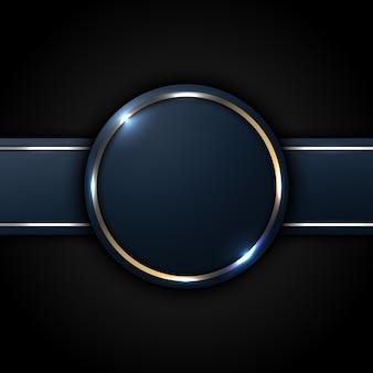 진한 파란색 원과 골든 라인 스트라이프 레이블