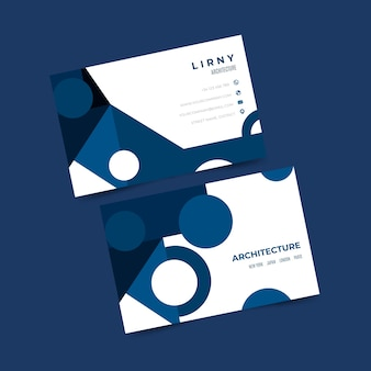 Dark blue circles abstract business card template