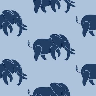 Темно-синие слоны на синем фоне бесшовные векторные шаблон повторяющийся узор для текстиля