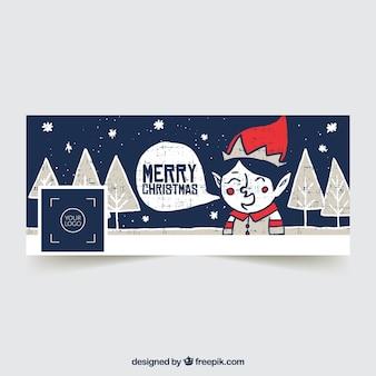 Copertina blu scuro di facebook con un elfo