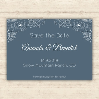 Dark blue floral save the date card
